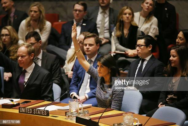 Nikki Haley the United States Ambassador to the United Nations votes with other members of the United Nations Security Council to impose new...