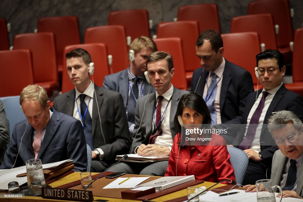 Nikki Haley, United States ambassador to the United Nations, listens during an emergency meeting of the U.N. Security Council at United Nations headquarters, July 5, 2017 in New York City. The United States requested an emergency meeting of the U.N. Security Council after North Korea tested an intercontinental ballistic missile earlier this week.