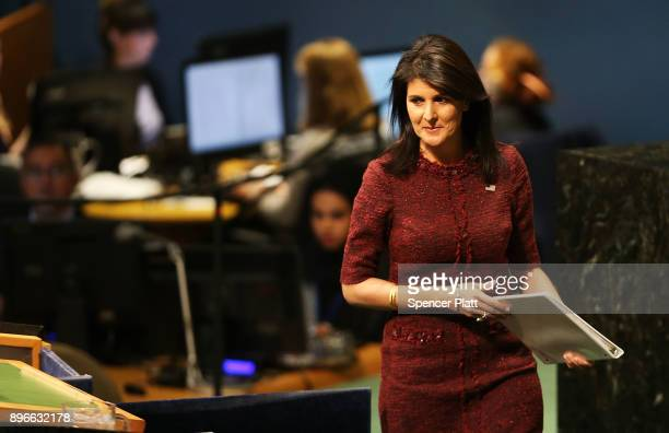 Nikki Haley United States Ambassador to the United Nations prepares to speak on the floor of the General Assembly on December 21 2017 in New York...