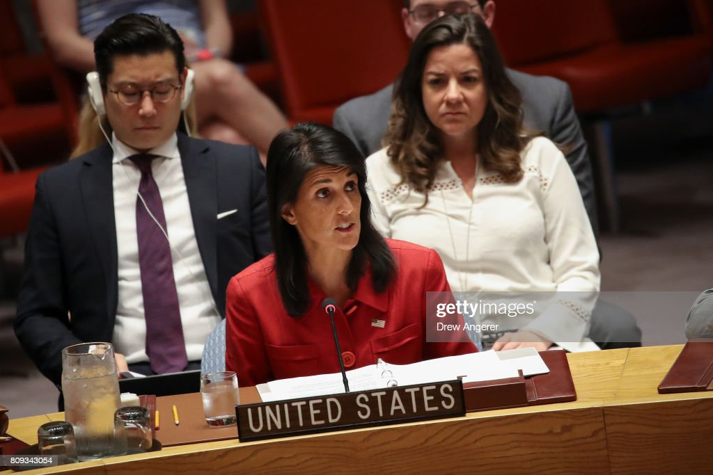 Nikki Haley, United States ambassador to the United Nations, speaks during an emergency meeting of the U.N. Security Council at United Nations headquarters, July 5, 2017 in New York City. The United States requested an emergency meeting of the U.N. Security Council after North Korea tested an intercontinental ballistic missile earlier this week.