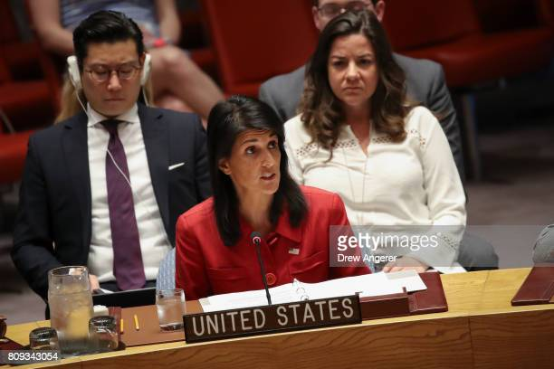 Nikki Haley United States ambassador to the United Nations speaks during an emergency meeting of the UN Security Council at United Nations...