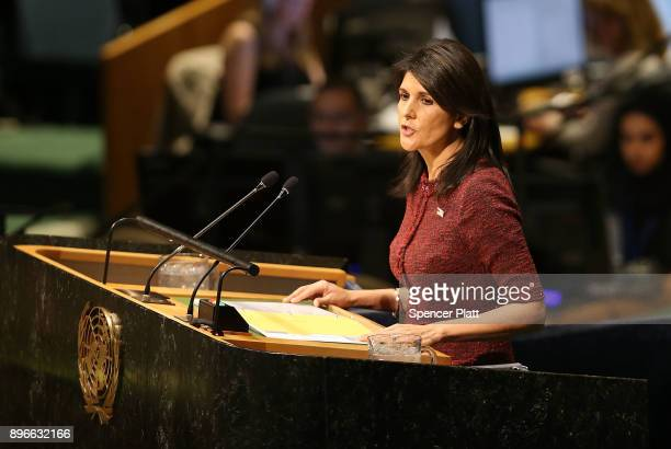 Nikki Haley United States Ambassador to the United Nations speaks on the floor of the General Assembly on December 21 2017 in New York City A vote is...