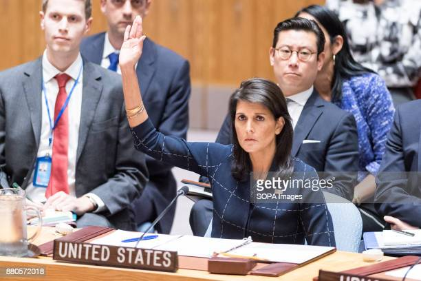 Nikki Haley United States Ambassador to the United Nations voting at the Security Council vote on sanctions for North Korea at the United Nations