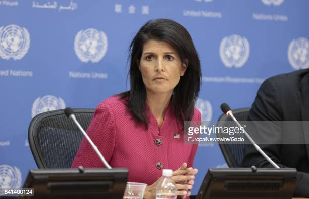 Nikki Haley United States Permanent Representative to the United Nations leans forward and looks surprised at the United Nations headquarters in New...
