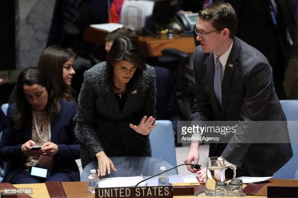 Nikki Haley US Ambassador to the United Nations is seen before voting on Sweden's Syria ceasefire resolution during a Security Council meeting at the...