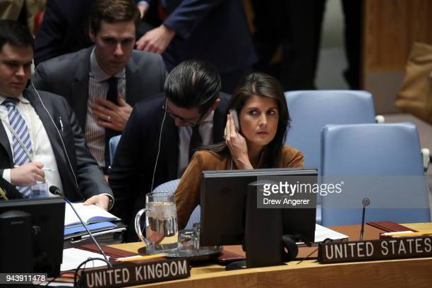 Nikki Haley US ambassador to the United Nations listens during a meeting of the United Nations Security Council at UN headquarters April 9 2018 in...