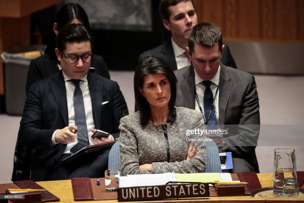 Nikki Haley, U.S. ambassador to the United Nations, looks on during an emergency meeting of the United Nations Security Council concerning North Korea's nuclear ambitions, at the United Nations headquarters, November 29, 2017 in New York City. North Korea test fired an advanced intercontinental ballistic missile on Tuesday.