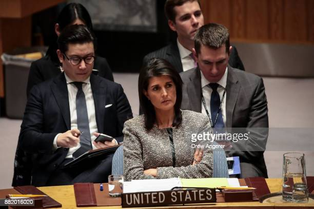 Nikki Haley US ambassador to the United Nations looks on during an emergency meeting of the United Nations Security Council concerning North Korea's...