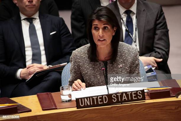 Nikki Haley US ambassador to the United Nations speaks during an emergency meeting of the United Nations Security Council concerning North Korea's...