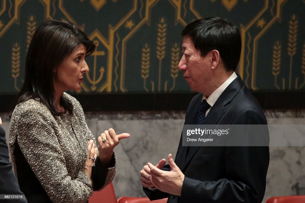 Nikki Haley, U.S. ambassador to the United Nations, talks with Wu Haitao, Chinese deputy ambassador to the United Nations, at the conclusion of an emergency meeting of the United Nations Security Council concerning North Korea's nuclear ambitions, at the United Nations headquarters, November 29, 2017 in New York City. North Korea test fired an advanced intercontinental ballistic on Tuesday.