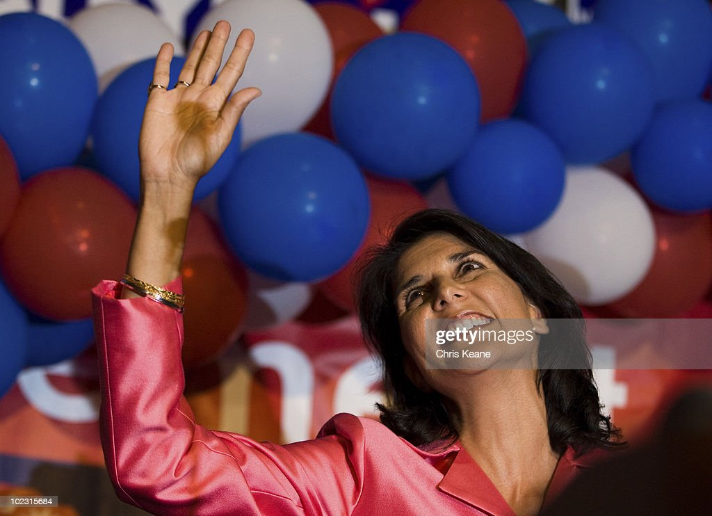 Nikki Haley waves to supporters as she comes onto stage during an election party for Republican South Carolina Governor candidate Nikki Haley at the State Museum on June 22, 2010 in Columbia, South Carolina. Haley defeated Rep. Gresham Barrett in a runoff election.