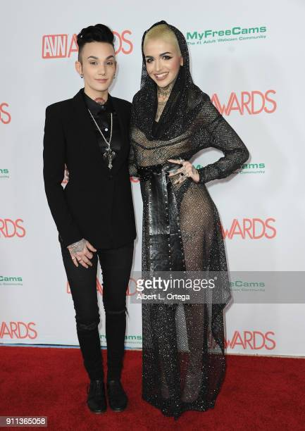 Nikki Hearts and Leigh Raven attend the 2018 Adult Video News Awards held at Hard Rock Hotel Casino on January 27 2018 in Las Vegas Nevada