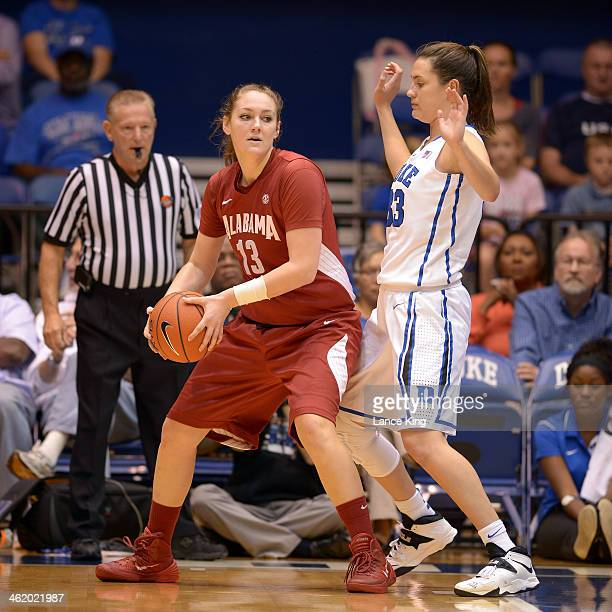 Nikki Hegstetter of the Alabama Crimson Tide controls the ball against Haley Peters of the Duke Blue Devils at Cameron Indoor Stadium on November 17...