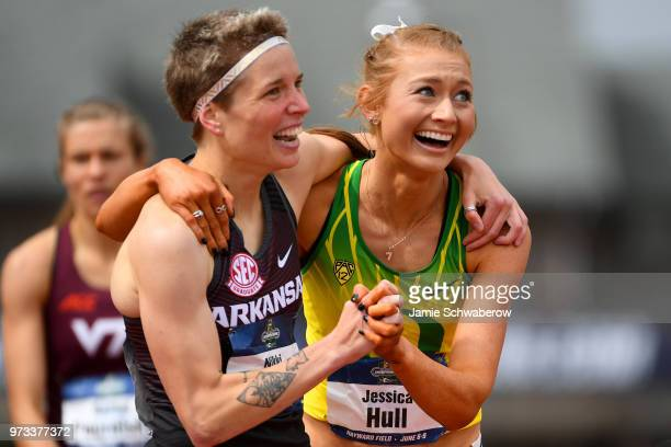 Nikki Hiltz of the Arkansas Razorbacks congratulates Jessica Hull of the Oregon Ducks on her victory in the 1500 meter run during the Division I...
