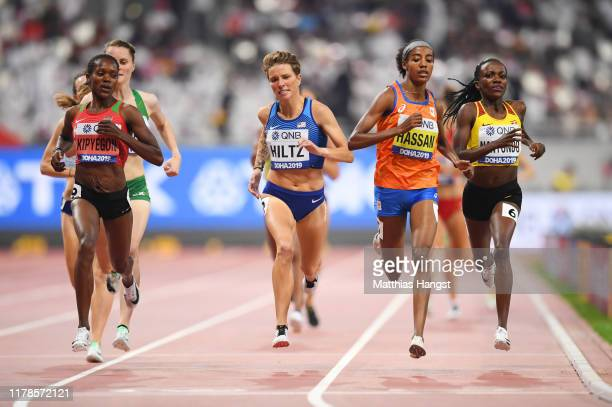 Nikki Hiltz of the United States and Sifan Hassan of the Netherlands compete in the Women's 1500 metres heats during day six of 17th IAAF World...
