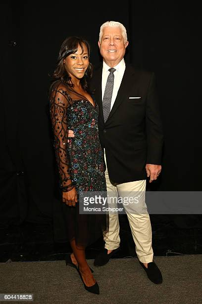 Nikki James and designer Dennis Basso pose for a photo backstage at the Dennis Basso fashion show during New York Fashion Week The Shows at The Arc...