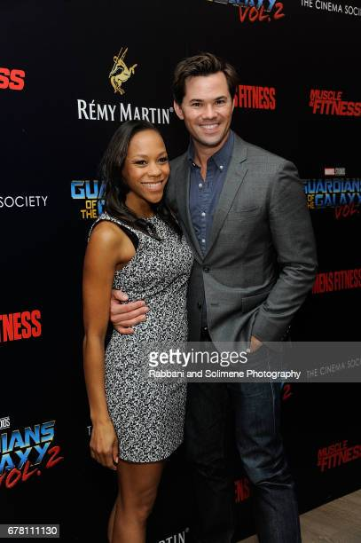 Nikki M James and Andrew Rannells attend a screening of Marvel Studios' Guardians Of The Galaxy Vol 2 hosted by The Cinema Society at the Whitby...