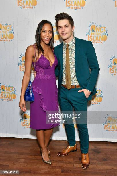 Nikki M James and Andy Mientus attend the 'Once On This Island' Broadway Opening Night after party at The Copacabana Times Square on December 3 2017...