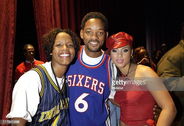 Nikki McCray from the WNBA's Indiana Fever Will Smith and Alicia Keys backstage at the NBA AllStar Read to Achieve Celebration in Philadelphia...