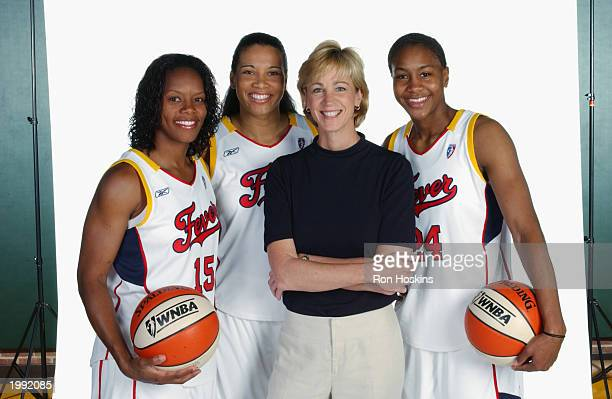 Nikki McCray Natalie Williams Head coach Nell Fortner and Tamika Catchings of the Indiana Fever during the Fever Media Day portrait shoot on May 6...