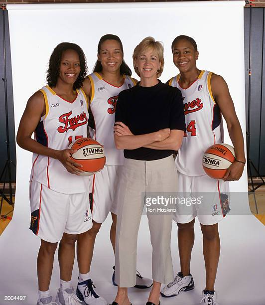 Nikki McCray Natalie Williams head coach Nell Fortner and Tanika Catchings of the Indiana Fever pose for a portrait during WNBA Media Day on May 6...