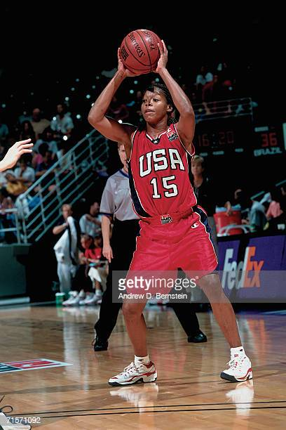 Nikki McCray of the United States Women's National Team looks to move the ball against the Brazilian Women's National Team during the 1999-2000...