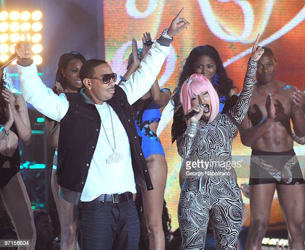 Nikki Minaj and Ludacris perform at the BET's Rip The Runway 2010 at the Hammerstein Ballroom on February 27 2010 in New York City