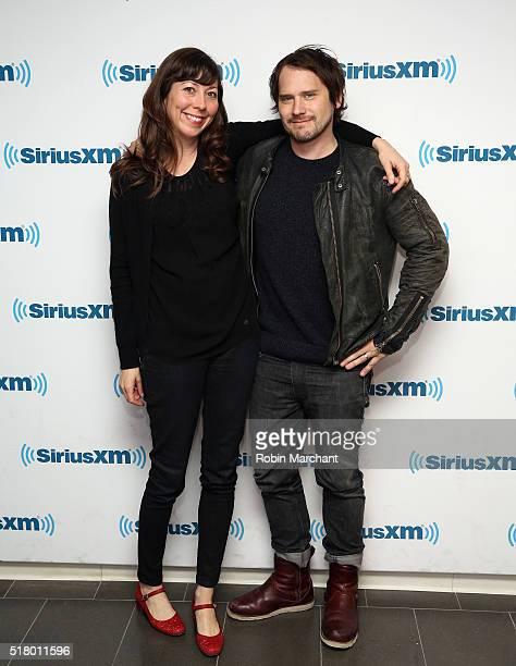 Nikki Monninger and Brian Aubert of Silversun Pickups visit at SiriusXM Studio on March 29 2016 in New York City