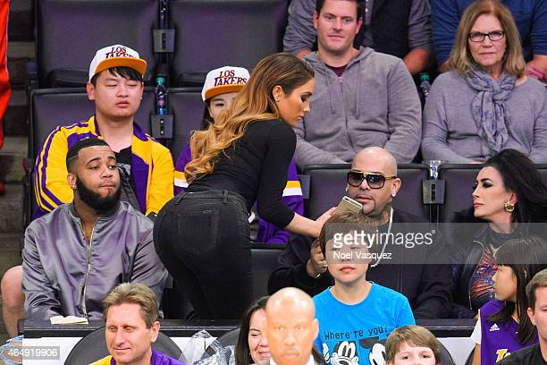 Nikki Mudarris and Mally Mall attend a basketball game between the Oklahoma City Thunder and the Los Angeles Lakers at Staples Center on March 1 2015...