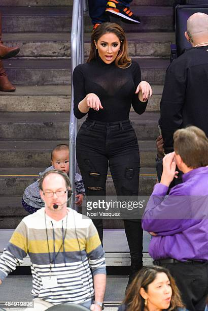 Nikki Mudarris attends a basketball game between the Oklahoma City Thunder and the Los Angeles Lakers at Staples Center on March 1 2015 in Los...