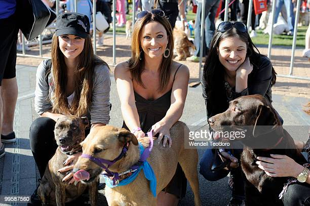 Nikki Phillips and Rose Kelly and Lyndsey Rodrigues attends the RSPCA Million Paws Walk at Sydney Olympic Park on May 16 2010 in Sydney Australia