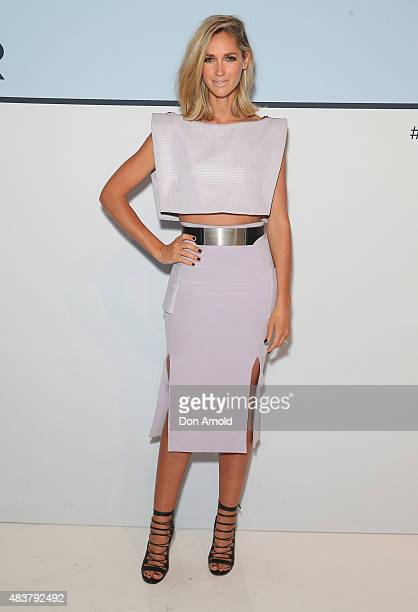 Nikki Phillips arrives ahead of the Myer Spring 2015 Fashion Launch on August 13 2015 in Sydney Australia