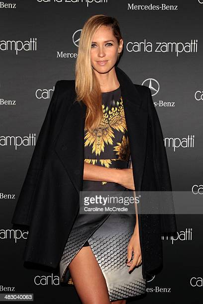 Nikki Phillips attends the Carla Zampatti show during MercedesBenz Fashion Week Australia 2014 at Carriageworks on April 6 2014 in Sydney Australia