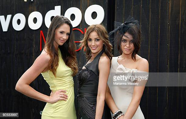 Nikki Phillips Rebecca Twigley and Monika Clarke at the 'Voodoo Magic' photo call in Federation Square on October 30 2009 in Melbourne Australia