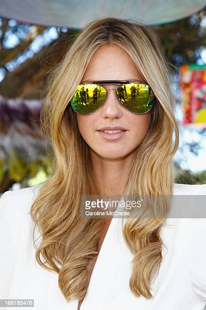 Nikki Phillips wears Tony Bianco glasses House of Emmanuele ring and Alice McCall outfit as she attends the Camilla show during MercedesBenz Fashion...