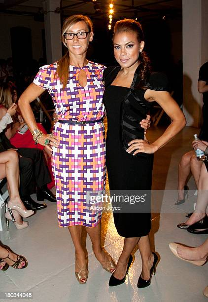 Nikki Poulos and Toni Trucks attend the Rolando Santana fashion show during MercedesBenz Fashion Week Spring 2014 at Center 548 on September 11 2013...
