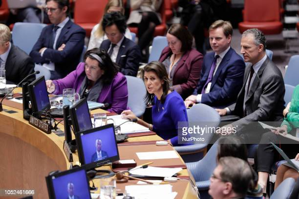 Nikki R Haley Permanent Representative of the United States to the UN during a Security Council Meeting on the situation in the Middle East including...