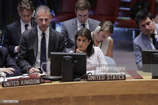 Nikki R Haley United States Permanent Representative to the UN and her Deputy Representative Jonathan Cohen during the Security Council meeting on...