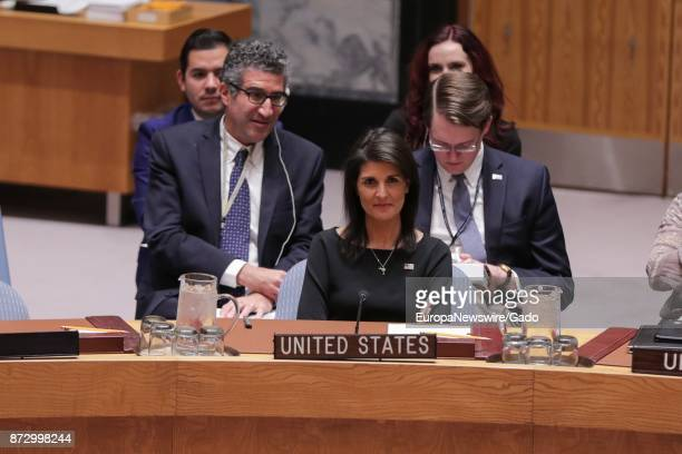 Nikki R Haley United States Permanent Representative to the UN Before the Security Council meeting on the Election of five members of the...