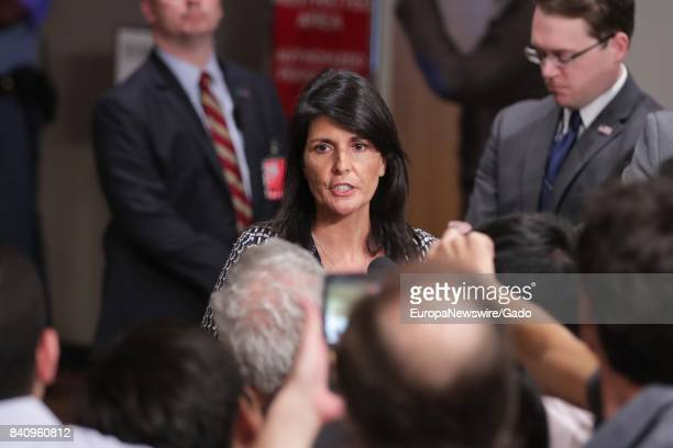 Nikki R Haley United States Permanent Representative to the UN speaks to journalists about North Korea launching a missile over Japanese territory at...