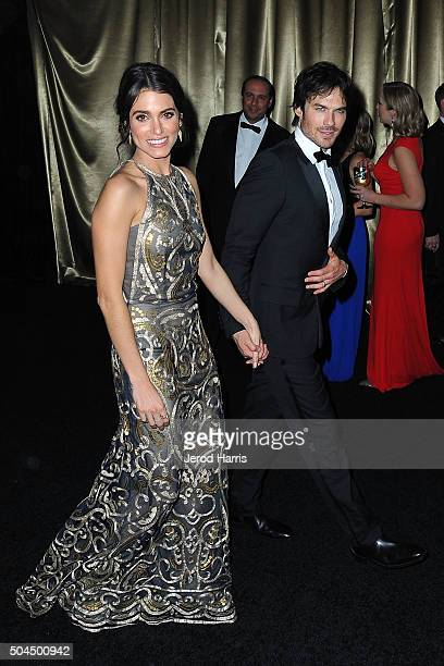 Nikki Reed and Ian Somerhalder arrive at the 2016 Weinstein Company and Netflix Golden Globes After Party on January 10 2016 in Los Angeles California