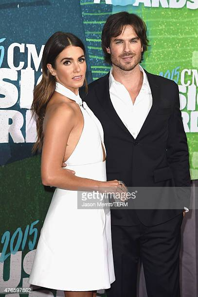 Nikki Reed and Ian Somerhalder attend the 2015 CMT Music awards at the Bridgestone Arena on June 10 2015 in Nashville Tennessee