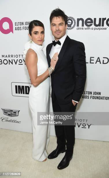 Nikki Reed and Ian Somerhalder attend the 27th annual Elton John AIDS Foundation Academy Awards Viewing Party sponsored by IMDb and Neuro Drinks...