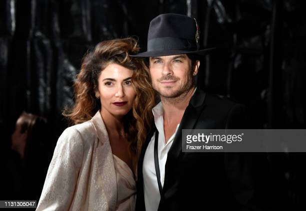 Nikki Reed and Ian Somerhalder attend the Cadillac celebrates The 91st Annual Academy Awards at Chateau Marmont on February 21 2019 in Los Angeles...