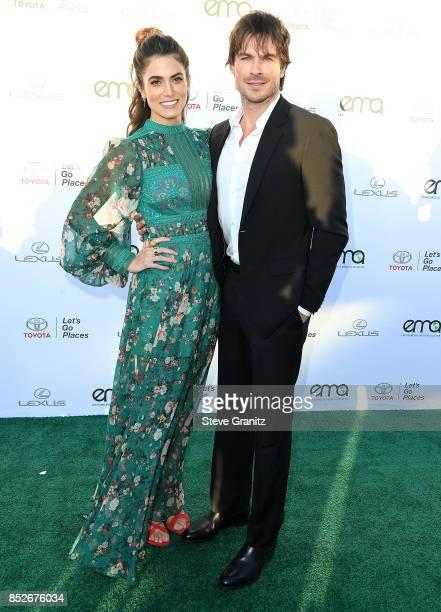 Nikki Reed Ian Somerhalder arrives at the 27th Annual EMA Awards at Barker Hangar on September 23 2017 in Santa Monica California