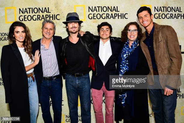 Nikki Reed Seth Reed and Ian Somerhalder attend the premiere of National Geographic's 'The Long Road Home' at Royce Hall on October 30 2017 in Los...