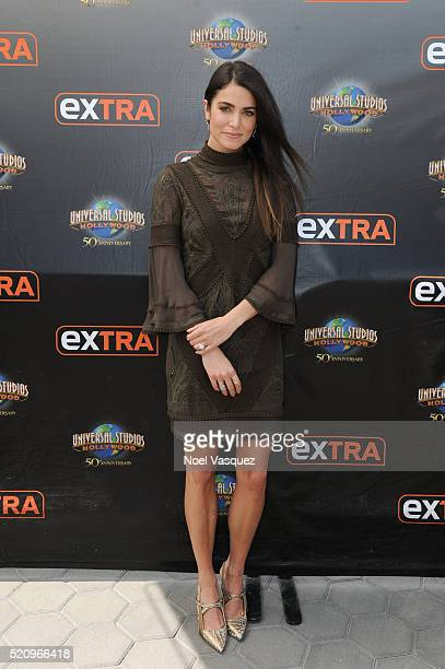Nikki Reed visits 'Extra' at Universal Studios Hollywood on April 13 2016 in Universal City California