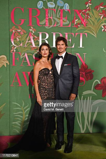 Nikki Reed wearing Jonathan Simkhai and Ian Somerhalder wearing Tommy Hilfiger attend The Green Carpet Fashion Awards, Italia 2019, hosted by CNMI &...