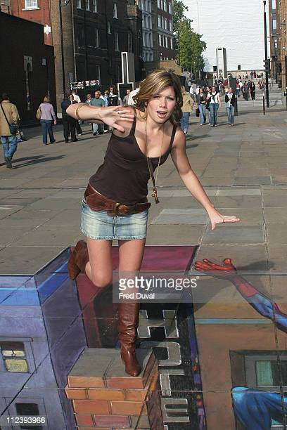 """Nikki Sanderson on 3D street painting. During Activision's """"Ultimate Spider-Man"""" Console Game Launch at Millennium Bridge, London in London, United..."""