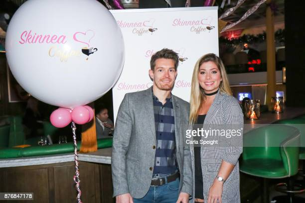 Nikki Sanderson posing with the owner of Skinnea Coffee at the launch of Skinnea Coffee at Neighbourhood Spinningfields on November 20 2017 in...